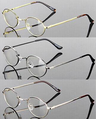 Mens Womens Clear Lens Eye Glasses Oval Vintage Retro Metal Frame Fashion Small