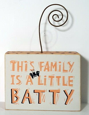Primitives by Kathy Halloween THIS FAMILY IS A LITTLE BATTY Photo Block Sign