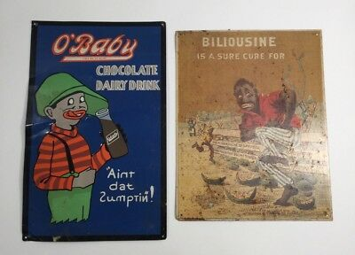 Pair Rare Authentic Vtg Tin Signs - O' Baby Chocolate Dairy Drink & Biliousine