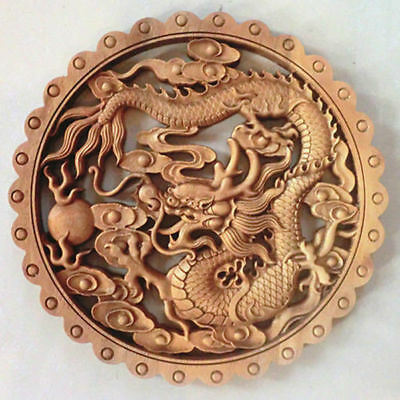 Hand Work Old Effect Xiang Zhang Sculptor Wood Carving Dragon Wall Panel