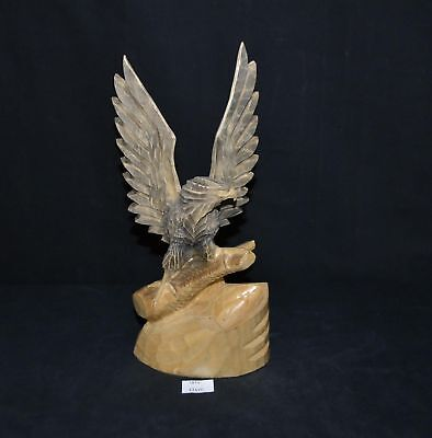 LMAS ~ Carved Wood Eagle w Open Wings Design Figurine