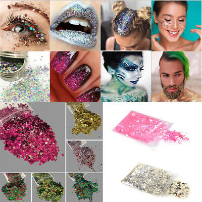 New 10g Holographic Flake Chunky Festival Glitter Nail Face Tattoo Body Dance