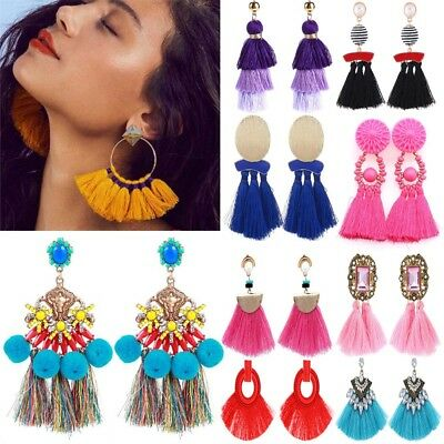 Fashion Bohemia Long Tassel Fringe Drop Dangle Ear Stud Earring Women Jewelry