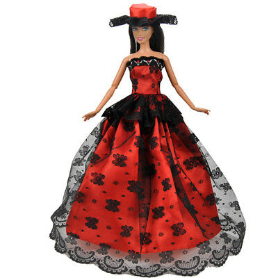 KD_ Handmade Fashion Clothes Wedding Party Gown Full Dress Cap For Barbie Doll