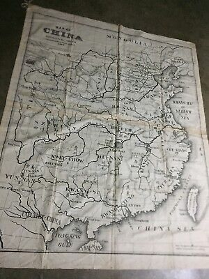 RARE 1898 Cloth Map Of China Published By ABCFM