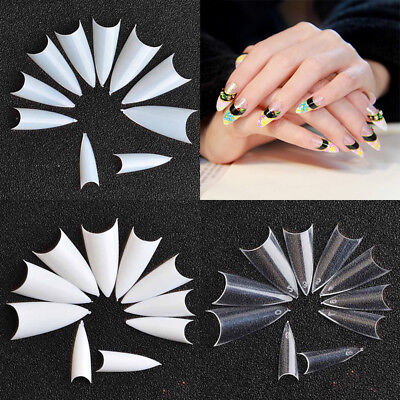 Creative Stiletto Point Nail Tips Decor False French Acrylic UV Gel Full Cover