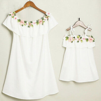 Mom and Me Off Shoulder Dress Mother Daughter Sundress Family Look Matching