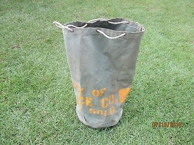 Very Rare Antique Block Ice Canvas Delivery Bag Morris Ice Co. Jackson Miss.