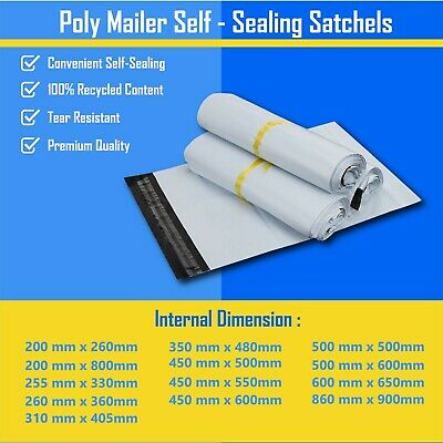 13 Size Poly Mailer Plastic Satchel Courier Self Sealing Shipping Bag 255-650 mm