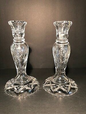 RARE VINTAGE Crystal Candlesticks Candle Holders with Unique Floral Pattern