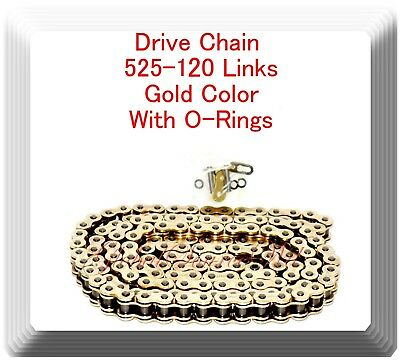 With O-Ring Drive Chain Gold Color 525-120 ATV Motorcycle 525 Pitch 120 Links