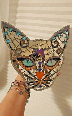 Siamese mosaic kitty cat glass mirror plaque wall hanging handcrafted