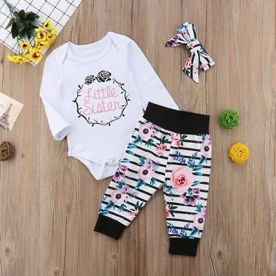 AU Newborn Baby Little Sister Romper Big Sister T-shirt+Long Pant Clothes Outfit