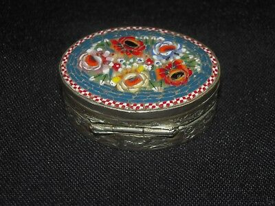 Antique Embossed Silver Plate Pill Box w/ Micro Mosaic Lid