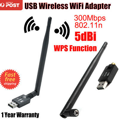 USB Wi-Fi Adapter Wireless 300Mbps Antenna Dongle 5dBi High Gain Adapter 802.11n