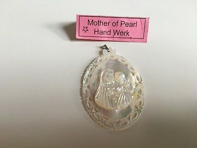 Mother of Pearl pendant hand made in Bethlehem, holy land New Free Postage UK