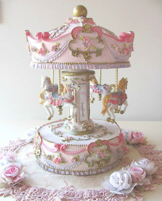 Pink MUSICAL PONY HORSE CAROUSEL Child Baby Newborn Christening Wind Up Keepsake