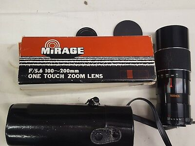 Mirage 1:5.6 f=100-200mm lens for M42 mount SLR camera cased and boxed