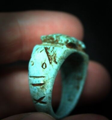 Antique Egyptian Faience Galss glazed stone ring