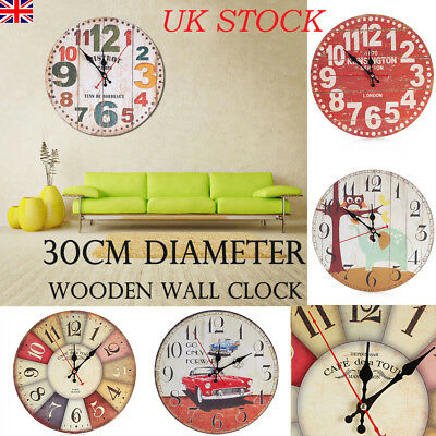 30cm Extra Large Round Wooden Wall Clock Vintage Retro Antique Home Decors UK