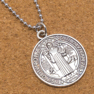 "Saint St Benedict Cross Medal Large 1 1/4"" Pendant Necklace 24"" Chain Holy Card"