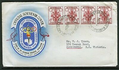 1956 Melbourne Olympics 4d Strip Of 4 Addressed First Day Cover, Good Condition
