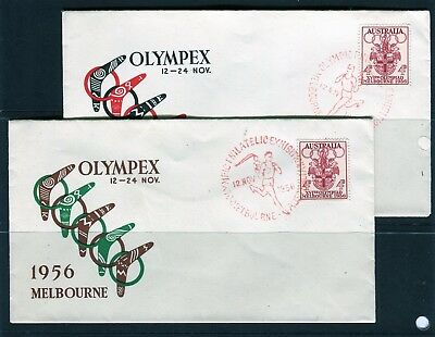 1956 Melbourne Olympics Olympex Special CDS Set Of 2 Covers, Good Condition