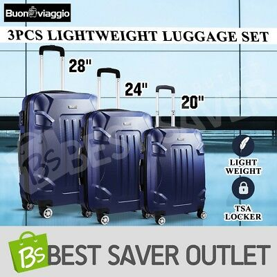 New 3Pcs Travel Case Lightweight Spinner Luggage Suitcase Set Trolley-Dark Blue