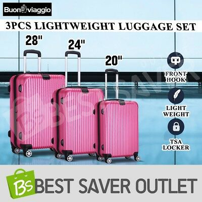 3x Travel Expandable Spinner Luggage Suitcase Set Trolley Lightweight - Rose Red