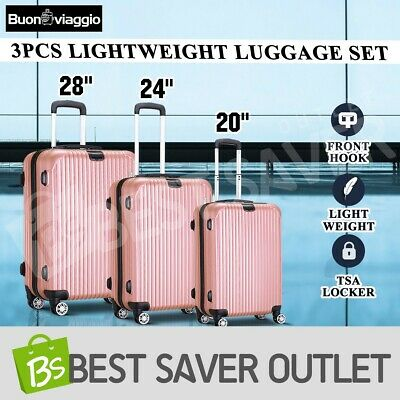 3x Travel Lightweight Luggage Suitcase Set Expandable Spinner Trolley-Rose Gold