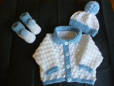 "New Hand Knitted Baby Cardigan Set  ~ 16"" ~  Boy ~ (0 - 3 mnths) White / Blue"