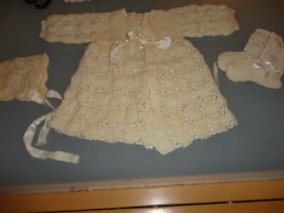 Vintage Cream Baby Jacket Bonnet Booties Handmade Crocheted/knitted Wool