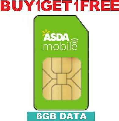 ASDA Mobile 6GB Data Sim card Powered by EE Pay as you go For Mobiles & Dongles.