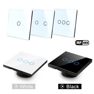 EU/UK Smart Home 433MHZ RF Remote Control+ Crystal Panel Touch Wall Light Switch