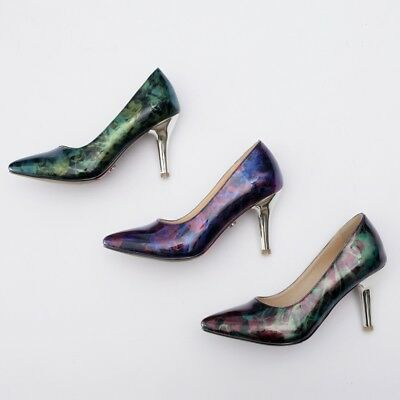 Women's Plus Size High Heel Pointed Shoes Shiny Synthetic Leather Pumps Classics