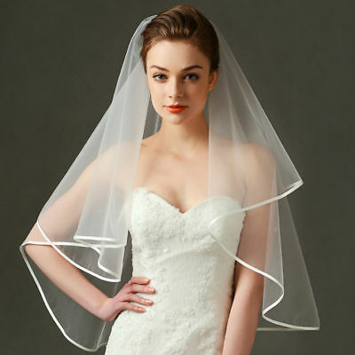 White/Ivory 59 inch Long Wedding Bridal Veil Satin Edge NO Comb NEW
