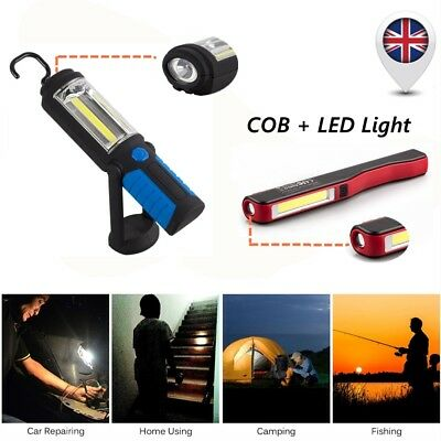 Magnetic LED COB Inspection Lamp Light Portable Clip Hand Torch Battery Powered