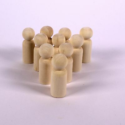 Wooden People 3D Smooth Solid Peg Dolls Ready to Decorate for Kids Pack of 10