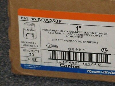 """SCA253F - Carlon 1"""" Quick Connect Snap-In Adapter, 20 Pack"""