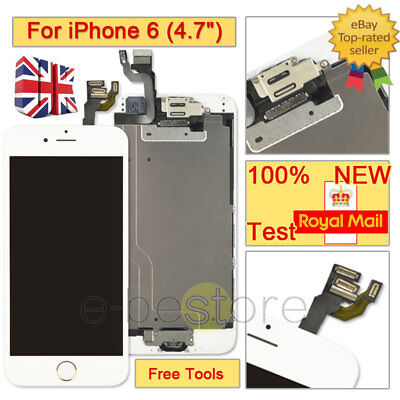 free shipping d4818 4d473 SCREEN WHITE FOR iPhone 6 Replacement Touch LCD Digitizer Camera Home Button
