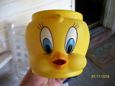 Tweety Bird plastic mug 3D face Warner Bros Looney Tunes 1992