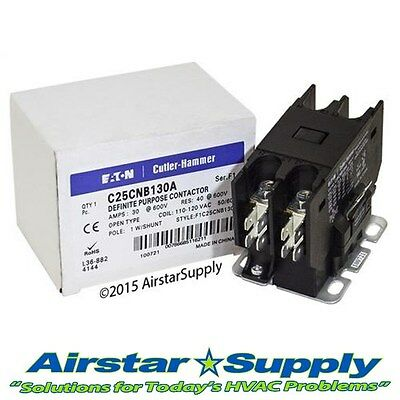 C25CNB130A Eaton / Cutler Hammer Contactor - 30 Amp / 1 Pole / 110/120V Coil