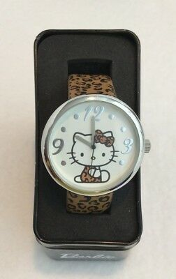 Women's Junior's 2013 Hello Kitty Silver Tone Leopard Leather Band Watch