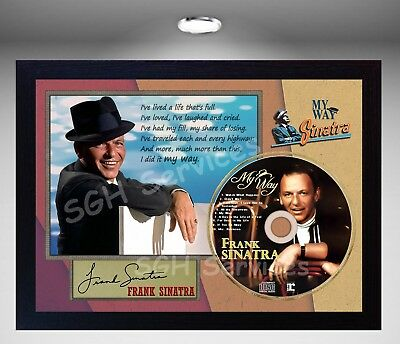 Frank Sinatra My Way  SIGNED FRAMED PHOTO CD Disc Perfect gift
