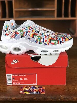 Nike Air Max Plus NIC AO5117-100 White Multi World Cup Flags Men Size 9 11439923f