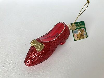 """Dorothy Wizard Of Oz Ruby Slipper Shoe Old World Christmas Glass 4"""" Ornament Tag"""