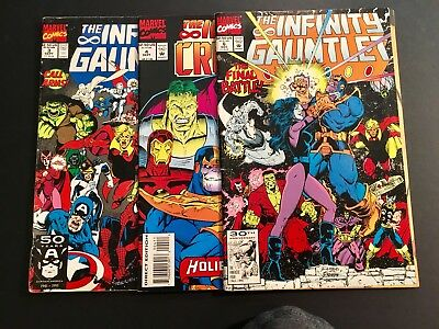 The Infinity Gauntlet Lot of 3 Marvel Comic Books Copper Age #3, #4, & #6 Thanos