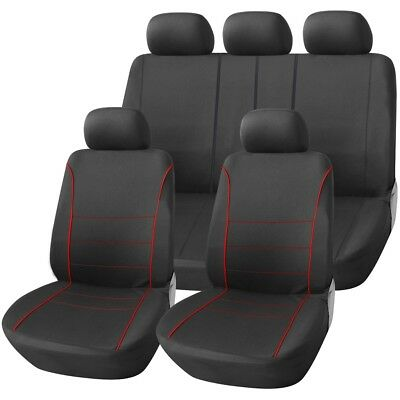 LUXURY BLACK & RED PIPING SEAT COVER SET for MORRIS MINOR (69-ON)