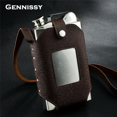 Hip Flask with Leather Holster Large Capacity Stainless Steel Steel Hip Flasks