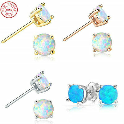 fe231d199 Round White Fire Opal 925 Sterling Silver Stud Post Earrings 5mm - Opal  Studs